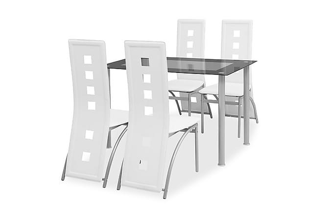 Matbord och stolar 5 delar vit - Vit - Möbler - Matgrupper - Rektangulär matgrupp