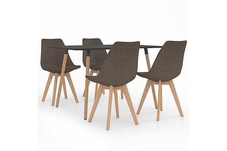 Matgrupp 5 delar taupe - Taupe - Möbler - Matgrupper - Rektangulär matgrupp