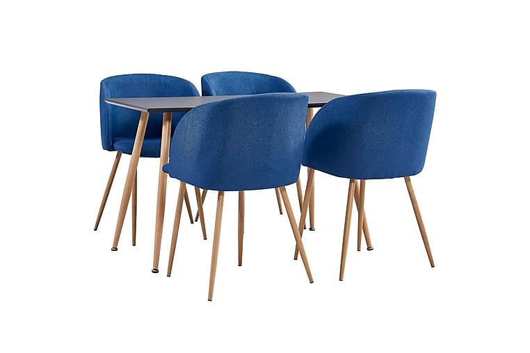 Matgrupp 5 delar tyg blå - Blå - Möbler - Matgrupper - Rektangulär matgrupp