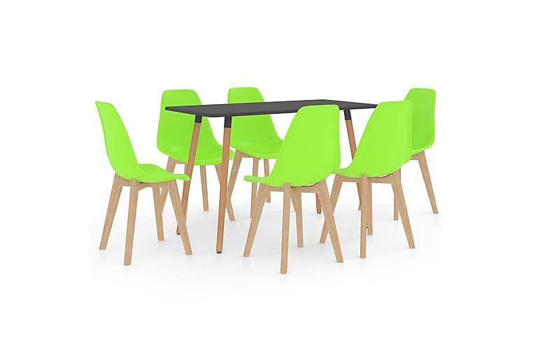 Matgrupp 7 delar grön - Grön - Möbler - Matgrupper - Rektangulär matgrupp