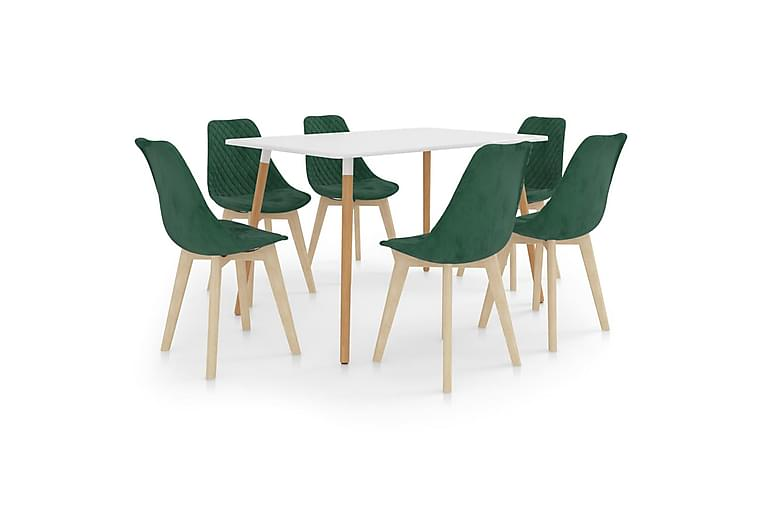 Matgrupp 7 delar mörkgrön - Grön - Möbler - Matgrupper - Rektangulär matgrupp