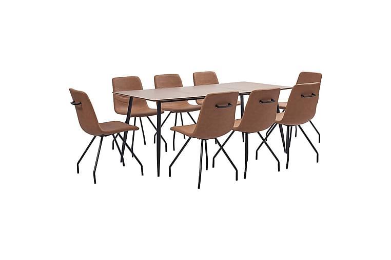 Matgrupp 9 delar brun konstläder - Brun - Möbler - Matgrupper - Rektangulär matgrupp