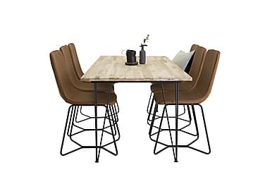 Miva matbord +Thella stol brun/svart 6st