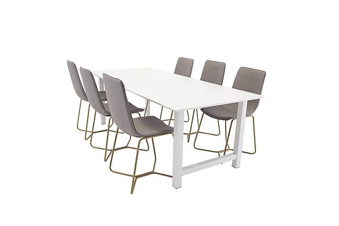 Naomi Matgrupp med 6 Thella Stol - Vit/Grå - Möbler - Matgrupper - Rektangulär matgrupp