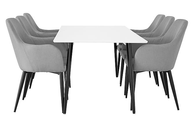 Pontus Matgrupp 180 cm med 6 Casper stol - Vit/Svart/Grå - Möbler - Matgrupper - Rektangulär matgrupp