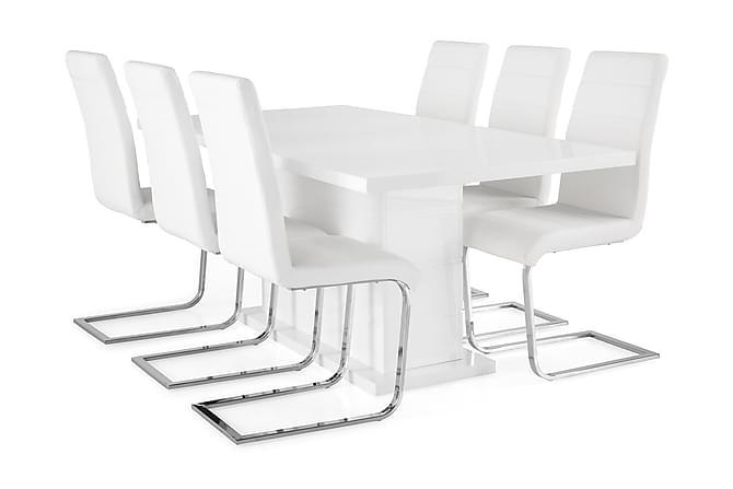 Ratliff Förlängningsbar Matgrupp 180 cm med 6 Cibus Stol - Vit/Vit PU/Krom - Möbler - Matgrupper - Rektangulär matgrupp