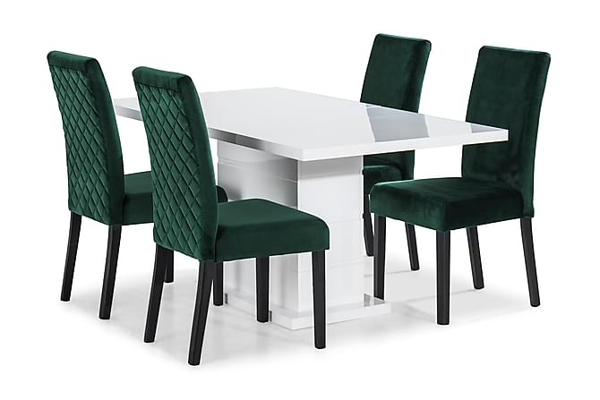 Ratliff Matbord 160 cm Med 4 st Mazzi Matstol - Vit/Grön - Möbler - Matgrupper - Rektangulär matgrupp