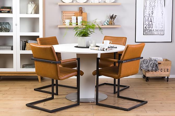Cubic Matgrupp Vit 120 cm med 4 House Stolar - Vintage/Ljusbrun - Möbler - Matgrupper - Rund matgrupp