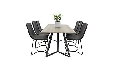 Malvina matbord+Thella stol svart/svart 6st