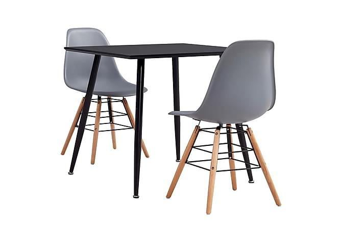 Matgrupp 3 delar plast grå - Grå - Möbler - Matgrupper