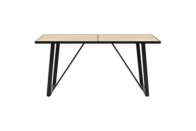 Matgrupp 5 delar mellanbrun konstläder - Brun - Möbler - Matgrupper