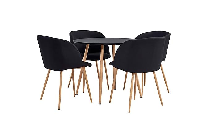 Matgrupp 5 delar tyg svart - Svart - Möbler - Matgrupper
