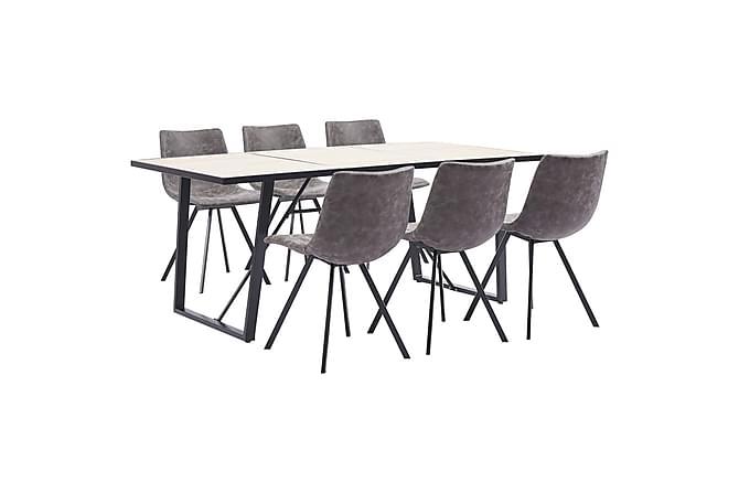 Matgrupp 7 delar brun konstläder - Brun - Möbler - Matgrupper