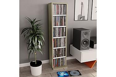 CD-hylla vit och sonoma-ek 21x16x88 cm spånskiva