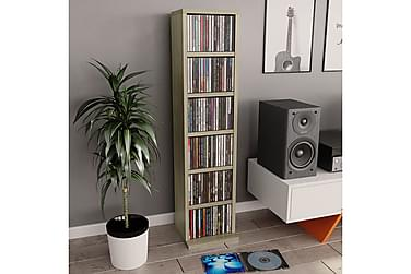 CD-hylla sonoma-ek 21x16x88 cm spånskiva