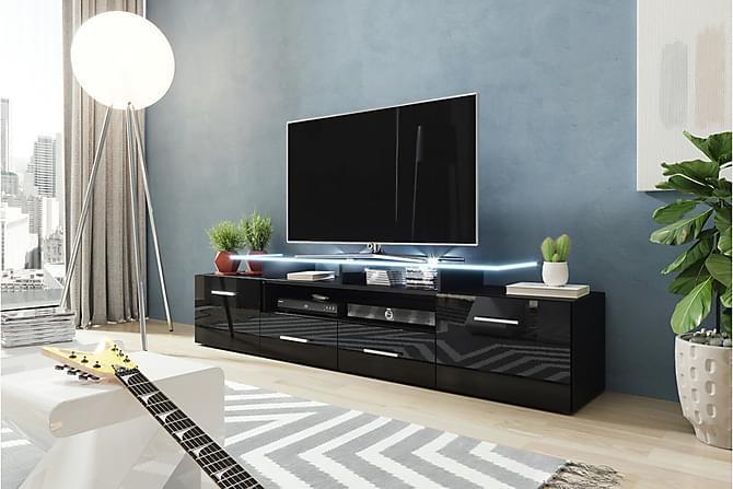 Evora TV-bänk 39x194 cm LED-belysning - Svart Högglans - Möbler - TV- & Mediamöbler - TV-bänk & mediabänk