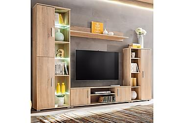Gennaro TV-möbelset 260 cm LED-belysning