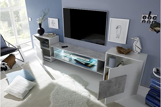 Incastro TV-bänk 258 cm - Vit/Betong - Möbler - TV- & Mediamöbler - TV-bänk & mediabänk