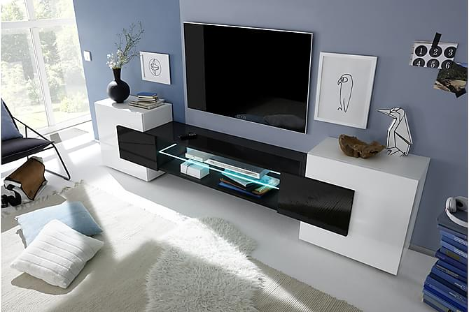 Incastro TV-bänk 258 cm - Vit/Svart - Möbler - TV- & Mediamöbler - TV-bänk & mediabänk