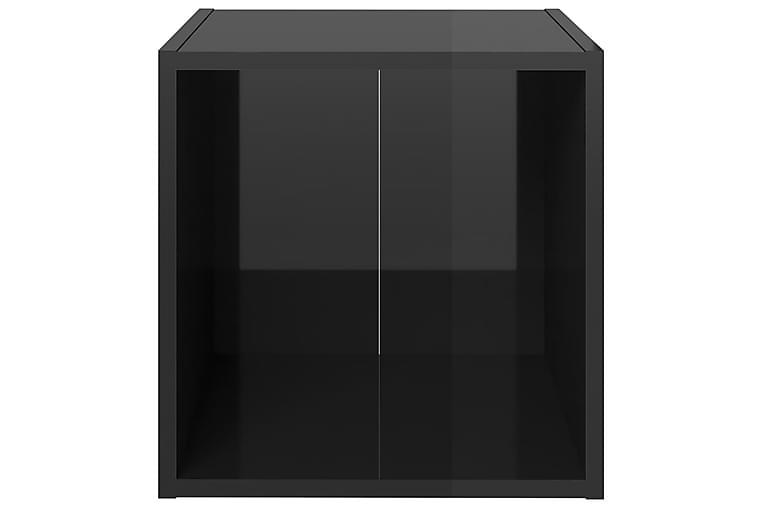 TV-bänk 2 st svart högglans 37x35x37 cm spånskiva - Svart - Möbler - TV- & Mediamöbler - TV-bänk & mediabänk