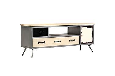 TV-bänk massivt mangoträ och stål 120x30x45 cm
