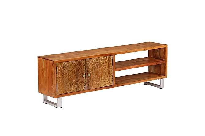 TV-bänk massivt trä med snidade dörrar 140x30x40 cm - Möbler - TV- & Mediamöbler - TV-bänk & mediabänk