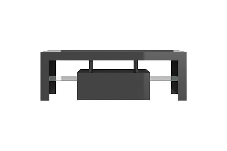 TV-bänk med LED-belysning grå högglans 120x35x40 cm - Grå - Möbler - TV- & Mediamöbler - TV-bänk & mediabänk