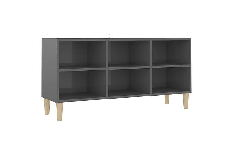 TV-bänk med massiva ben grå högglans 103,5x30x50 cm - Grå - Möbler - TV- & Mediamöbler - TV-bänk & mediabänk