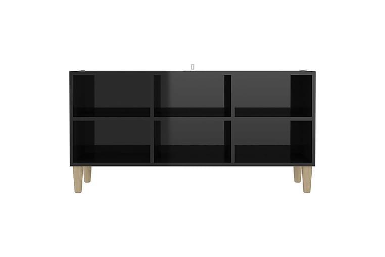 TV-bänk med massiva ben svart högglans 103,5x30x50 cm - Svart - Möbler - TV- & Mediamöbler - TV-bänk & mediabänk