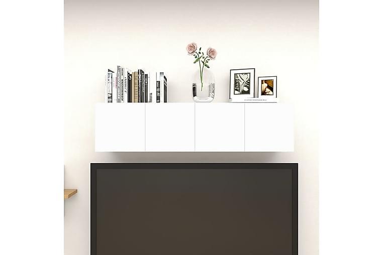 Väggmonterade tv-skåp 4 st vit och sonoma-ek 30,5x30x30 cm - Beige - Möbler - TV- & Mediamöbler - TV-bänk & mediabänk