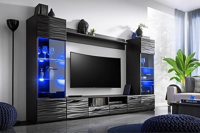 Apryl Mediamöbel 260 cm - Svart - Möbler - TV- & Mediamöbler - TV-möbelset