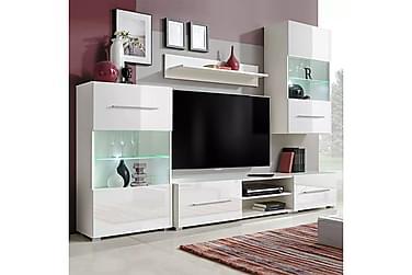 Caronia TV-möbelset 240 cm med Vitrinskåp + LED 5 Delar