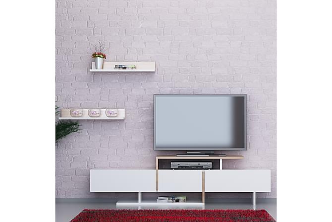 Enjorea Tv-bänk - Vit/Teak - Möbler - TV- & Mediamöbler - TV-möbelset