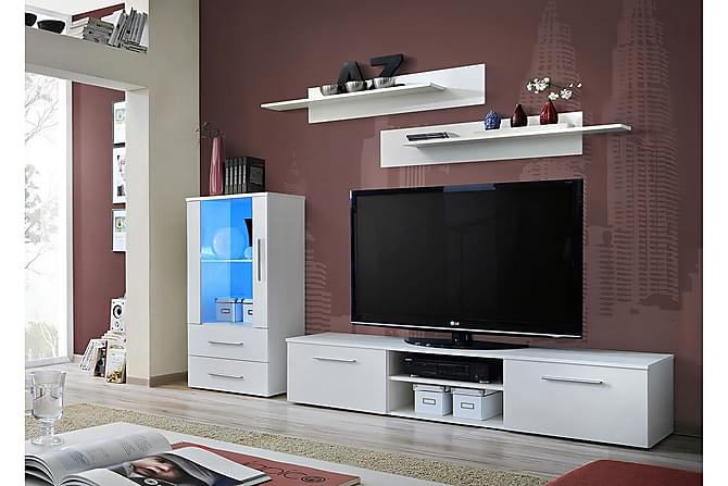 Galino TV-möbelset 250x40x180 cm - Vit - Möbler - TV- & Mediamöbler - TV-möbelset
