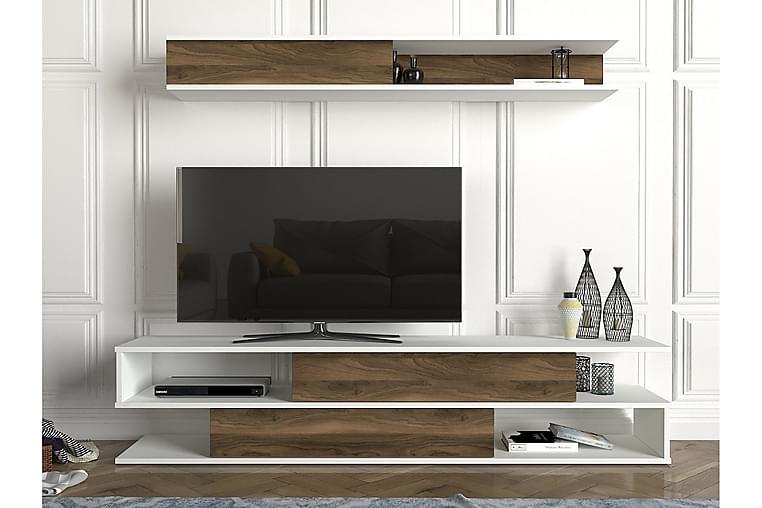 Myane Mediaförvaring - Vit/Valnöt - Möbler - TV- & Mediamöbler - TV-möbelset