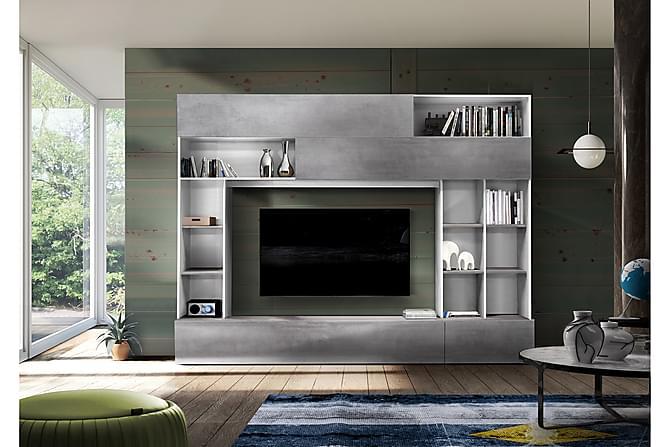 Priscilla Mediamöbel 276 cm - Vit/Grå - Möbler - TV- & Mediamöbler - TV-möbelset