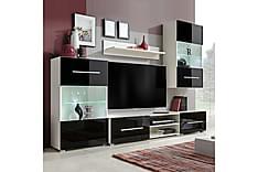 TV-möbel med väggskåp och LED 5 delar svart