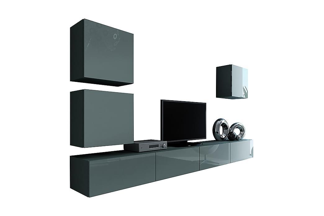 Vasil TV-möbelset 280x40x180 cm - Grå - Möbler - TV- & Mediamöbler - TV-möbelset