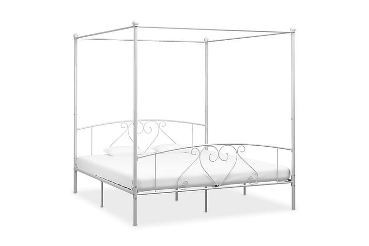 Himmelsäng vit metall 200x200 cm - Vit - Möbler - Sängar - Himmelsäng