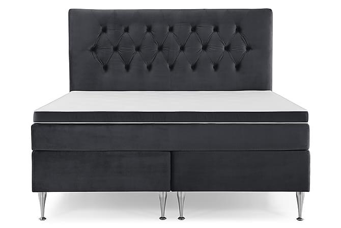 Royal Velvet Komplett Sängpaket 180x200 - Svart med Höga Silverben - Möbler - Sängar - Komplett sängpaket