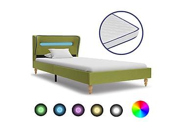 Säng med LED och memoryskummadrass grön tyg 90x200 cm