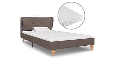 Säng med madrass taupe tyg 90x200 cm