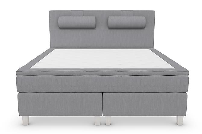 Superior Lyx Komplett Sängpaket 160 cm Ljusgrå - Vita Ben - Möbler - Sängar - Komplett sängpaket