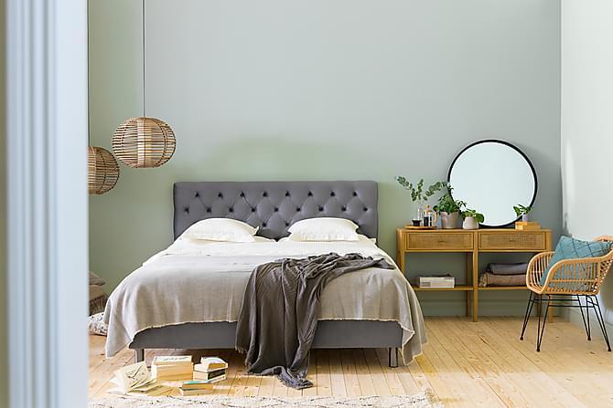 Ella Sängpaket 160x200 cm Djuphäftad Gavel - Ljusgrå/Sammet - Möbler - Sängar - Komplett sängpaket