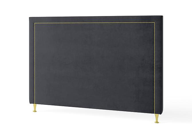 Inbed Sänggavel 105 cm Guldnitar Sammet - Grå - Möbler - Sängar - Sänggavel