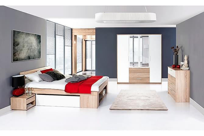 Linera Sängram med Förvaring 140x200 + Sängbord - Vit/Ek - Möbler - Sängar - Sängram & sängstomme