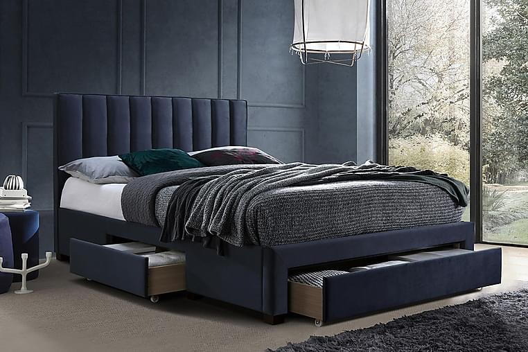 Säng Grace 3-Lådor Utan Madrass 160x200 cm Blå - Möbler - Sängar - Sängram & sängstomme