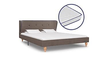 Säng med memoryskummadrass taupe tyg 140x200 cm