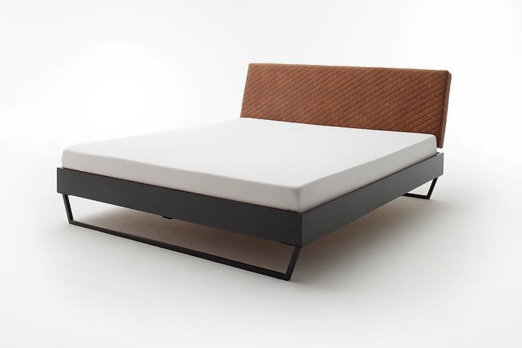 Sängram 140x200 cm Konstläder Metall - Konstläder/Cognac/Grå - Möbler - Sängar - Sängram & sängstomme