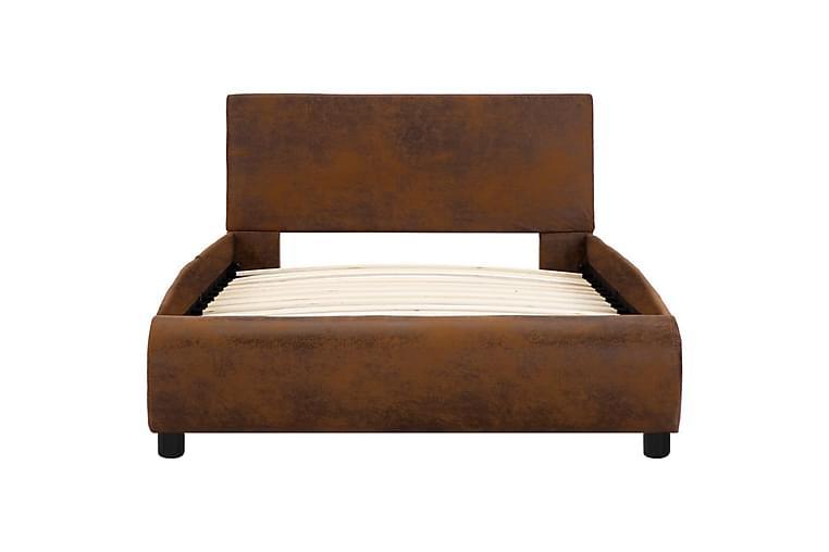 Sängram brun konstläder 90x200 cm - Brun - Möbler - Sängar - Sängram & sängstomme